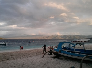 Typical beach scene - looking towards Lombok