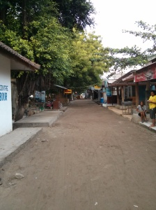 The main road on Gili - outside the Yoga Gardens