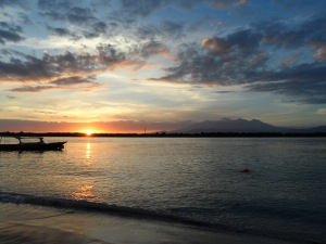 Sunrise over Gili Meno and Mt Rinjani