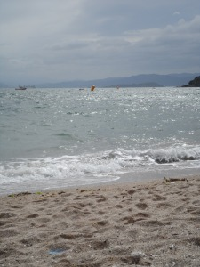 "The ""placid"" swimming conditions. Seriously, you cannot imagine how choppy and windy it was there."