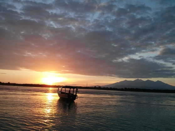 A happy place: watching the sunrise in Gili Trawangan before morning yoga practice.