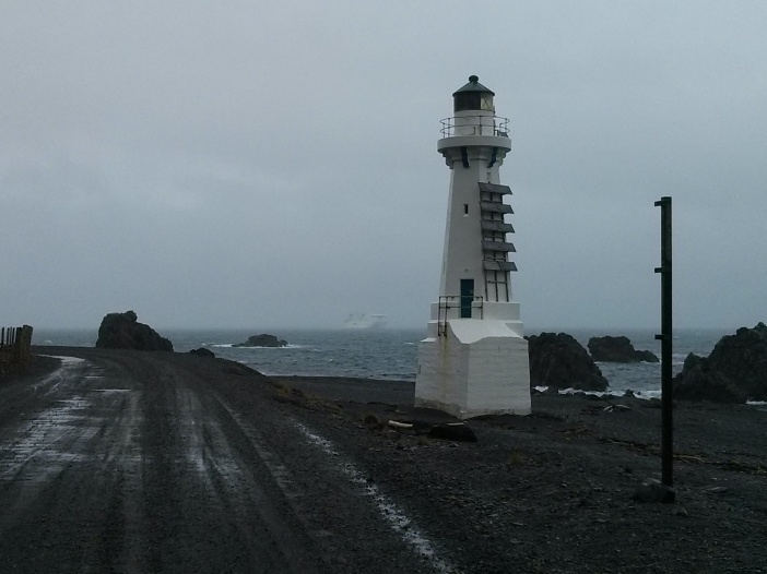 The new Lighthouse and Stena Alegra at Pencarrow Head.
