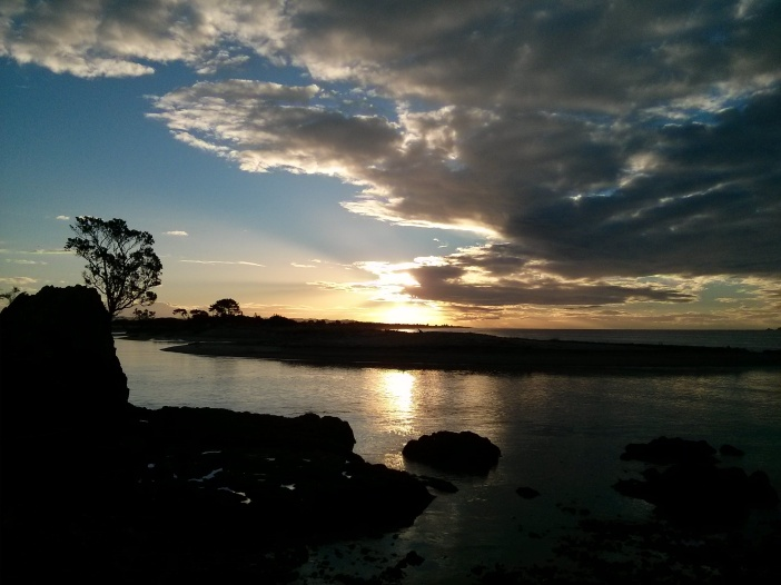 Sunset at the Whakatane River Bar